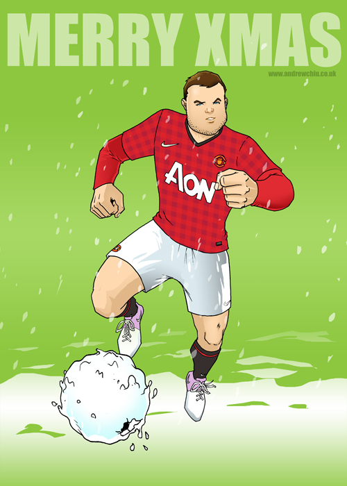 Wayne Rooney Xmas Illustration